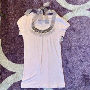 Ann Taylor Loft Pink Jeweled Neck Fitted T-Shirt